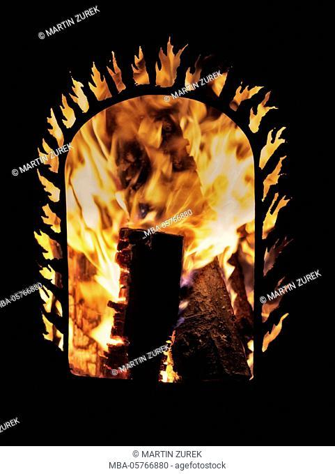 Handmade fire barrel, metal, welded, fire, wood, winter, heat
