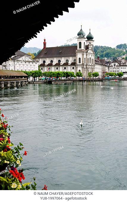Jesuit Church in rainy day, Lucerne, north-central Switzerland, Europe