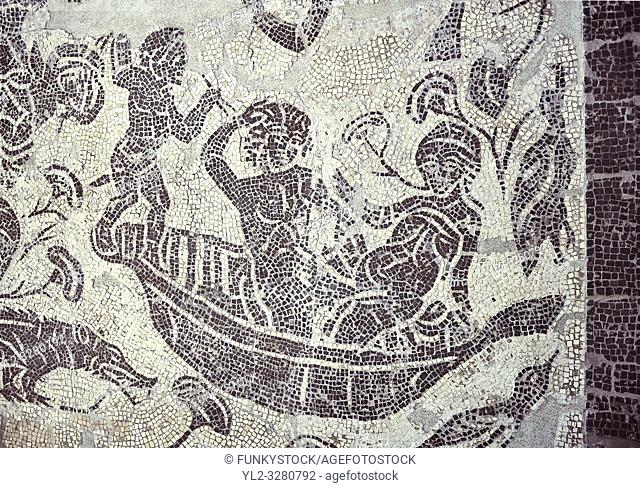 Erotic Roman Mosaic of Pigmies in boats fornicating on the River Nile from Rome, inv 122861, Secret Museum or Secret Cabinet