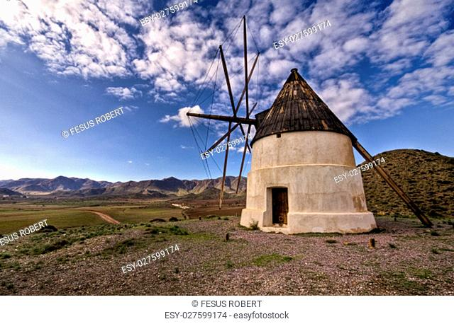 Old Windmill in Las Negras Cabo de Gata natural Park Almeria Andalucia Spain