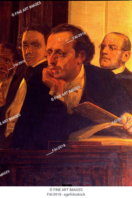 The composers Mikhail Oginski, Fryderyk Chopin and Stanislav Moniuszko (Detail of the painting Slavonic composers). Repin, Ilya Yefimovich (1844-1930)