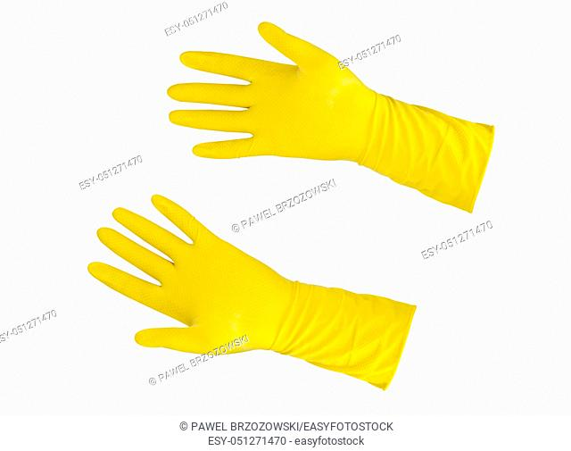 Yellow rubber gloves isolated on a white background. Hand protection gloves on white background. Hand protection yellow gloves