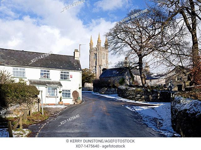 England Devon Widecombe in the Moor with Winter snow