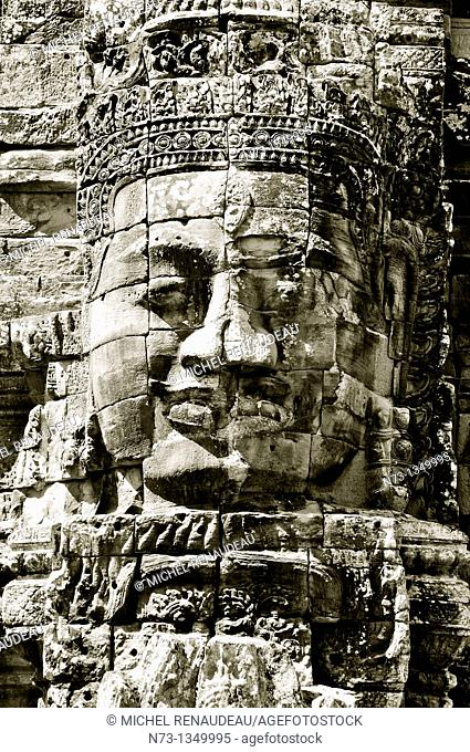 Cambodia, Siem Reap, Angkor classified World Heritage by UNESCO, the ancient city of Angkor Thom, Bayon Temple built by King Jayavarman VII