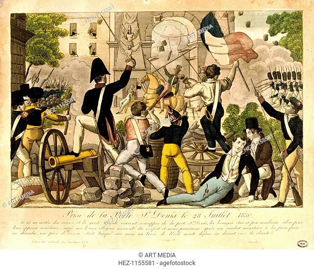 'Prise de la Porte St. Denis le 28th Juillet 1830,' Revolution of 1830, Paris. The battle at Porte St Denis, between the people and a royal battalion