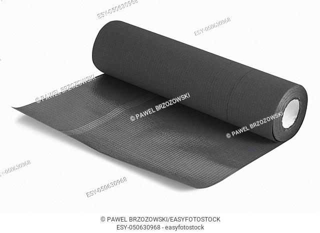 Cosmetic underlay on roll. Disposable foil underlay for cosmetics purposes. Hygienic underlay isolated on white background