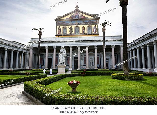 Outside view Basilica di San Paolo Fuori le Mura. Rome, Italy