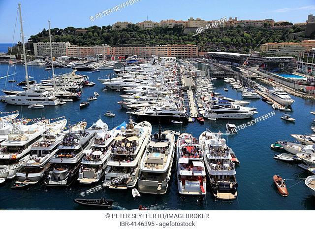 View of Port Hercule with yachts during the Formula 1 Grand Prix 2015, Principality of Monaco