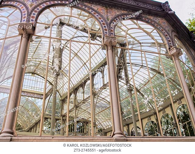 Spain, Madrid, View of the Crystal Palace in the Retiro Park