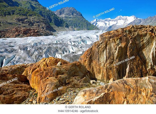 Aletsch glacier, Switzerland, Valais, UNESCO, world nature heritage, mountains, glaciers, ice, rock, cliff, nature