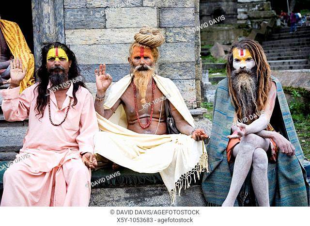 Sadhu covered with traditional ash and body paint At Pashupatinath Temple Kathmandu Valley Nepal