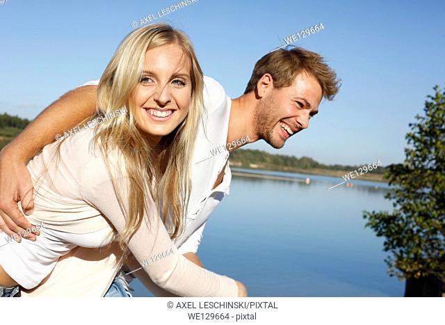 Woman and man having fun