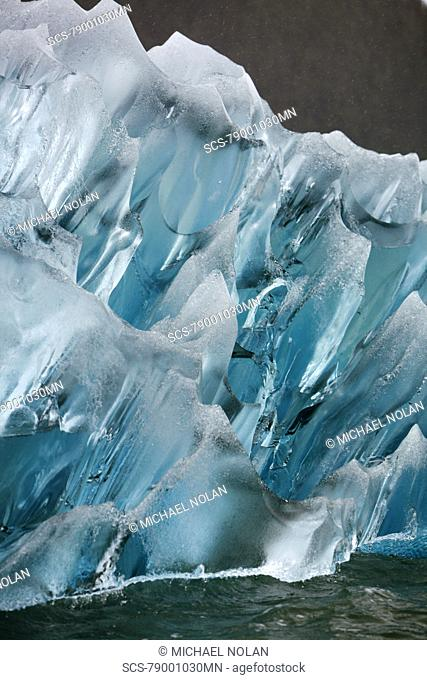 Deeply blue iceberg calved from the LeConte Glacier just outside Petersburg, Southeast Alaska, USA Pacific Ocean