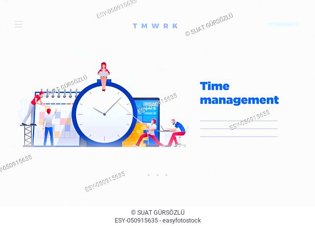 Web site page design template. Vector illustration people are working on financial issues together on clock and calendar