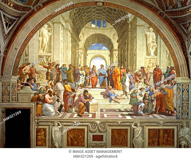 Rafael Sanzio da Urbino April 6 or March 28, 1483 April 6, 1520, The School of Athens, or Scuola di Atene in Italian, is one of the most famous paintings by the...