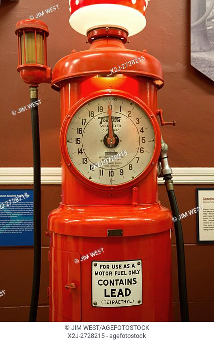 Fort Wayne, Indiana - The Tokheim Pump Company's 1930 Volunteer gasoline pump. It is on display at the History Center, a museum operated by the Allen...