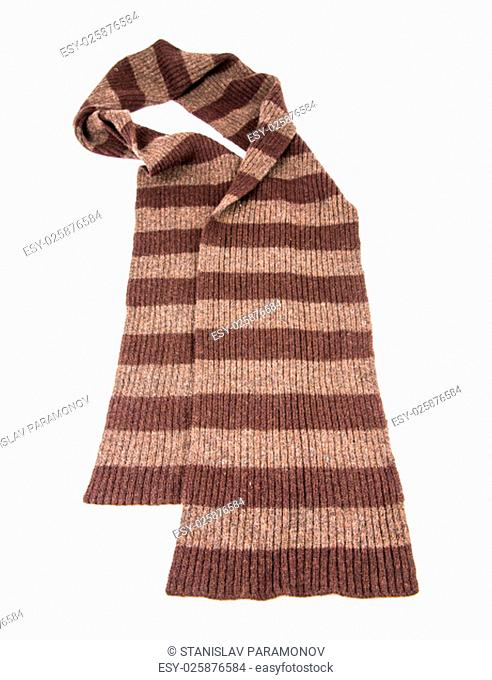 Brown Knit scarf isolated on white background
