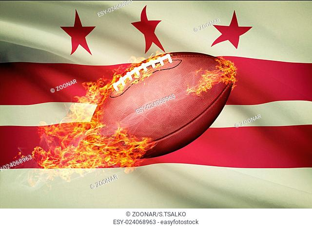 American football ball with flag on backround series - District of Columbia - Washington
