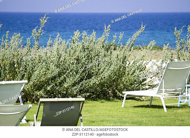 Beach club at Adriatic sea in Guaceto coast Puglia Italy
