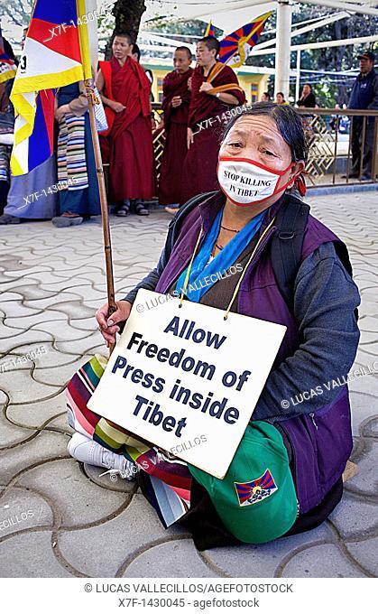 women's demonstration, for the freedom of Tibetan women, in Namgyal Monastery, Tsuglagkhang complex  McLeod Ganj, Dharamsala, Himachal Pradesh state, India