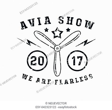 Air show emblem in thin line style. Graphic design for t-shirt. Black print on white background