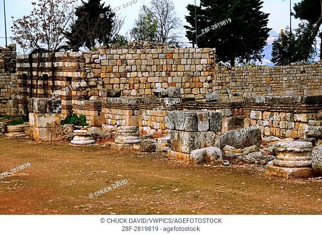 Decorative walls of the Omayyad Palace in Anjar have been partially restored to outline the structure, Lebanon