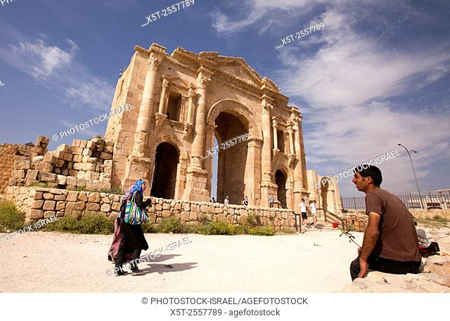 Hadrian's Arch Ruins of the Roman city Gerasa near Jerash, Jordan