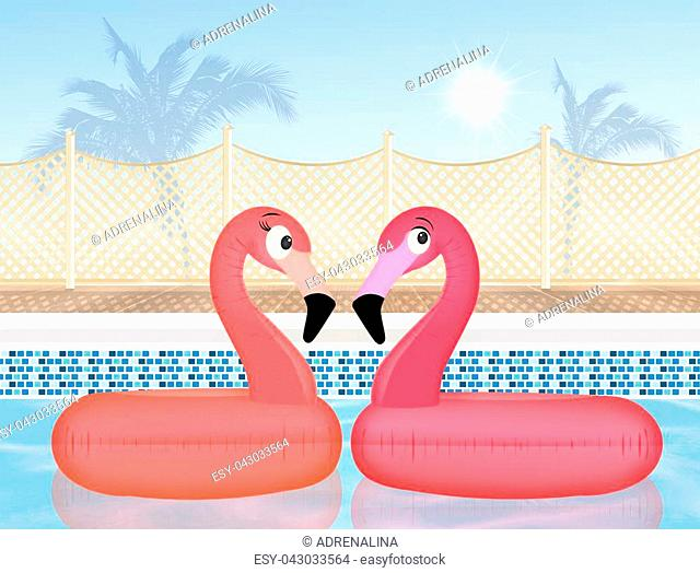 illustration of couple of inflatable pink flamingo