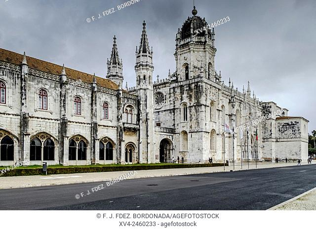 Hieronymites Monastery, Mosteiro dos Jeronimos, UNESCO World Heritage Site, Manueline style, Portuguese late-Gothic, Belem, Lisbon, Portugal, Europe