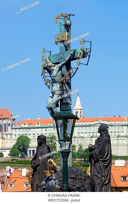 art, bridge, castle, Charles bridge, city, Czech, day, Europe, hradcany, lantern, old, Prague, religion, religious, sky, travel, statue