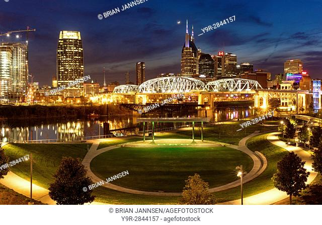 Twilight over Cumberland Park and the skyline of Nashville, Tennessee, USA