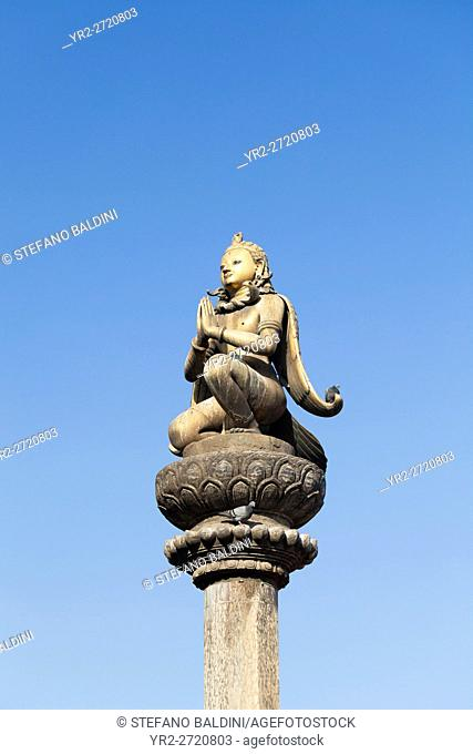 Golden statue of Garuda on a column, Durbar Square, Patan, Nepal