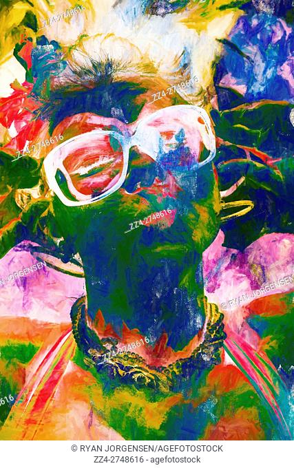 Abstract fashion digital painting of a pop art pin up girl wearing sunglassess in swirls of courful paint