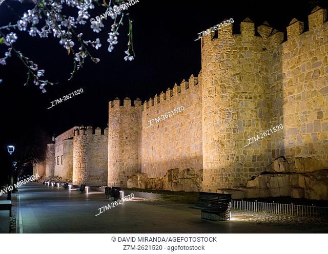 Night view of Paseo del Rastro promenade, Medieval City Walls, Avila, Castile and Leon, Spain. UNESCO World Heritage Site