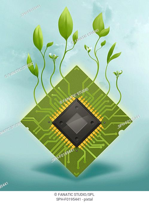 Illustration of plants growing on microchip