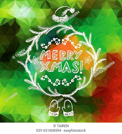 Hand drawn Christmas greeting card. Eps10