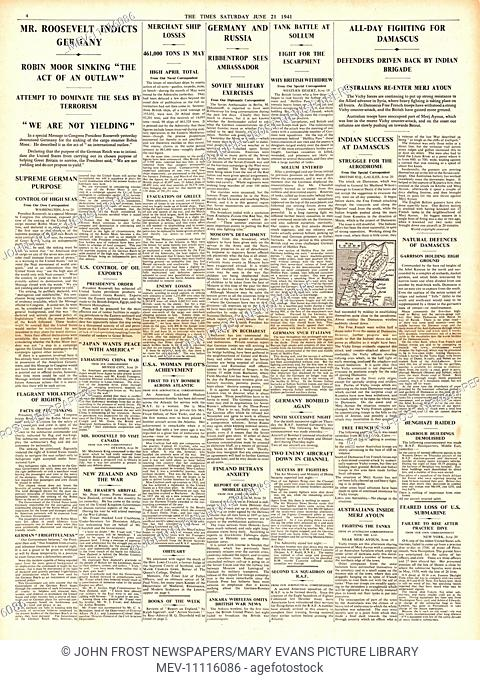 1941 The Times Roosevelt protests over sinking of SS Robin Moor, Ribbentrop in talks with Russian Ambassador Dekanosov and fighting in Damascus