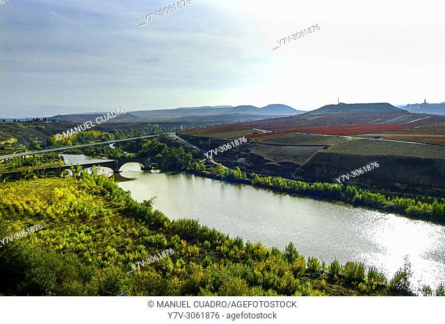 Autumn landscape. Vineyards in San Vicente de la Sonsierra Area, La Rioja, Spain