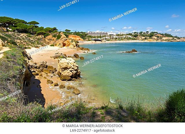Bath bay at rocky Algarve, Albufeira, South Portugal, Europe