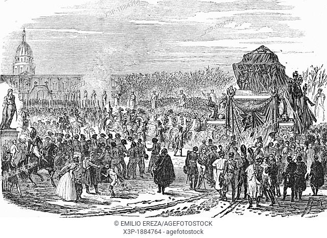 Napoleon's ashes are carried to Paris  15th December 1840  Antique illustration, 1856