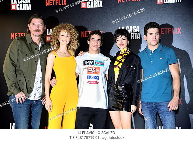 Luka Peros, Esther Acebo, Miguel Herran, Ursula Corbero, Jaime Lorente during photocall for the presentation of Spanish TV show 'La Casa de Papel' in Milan