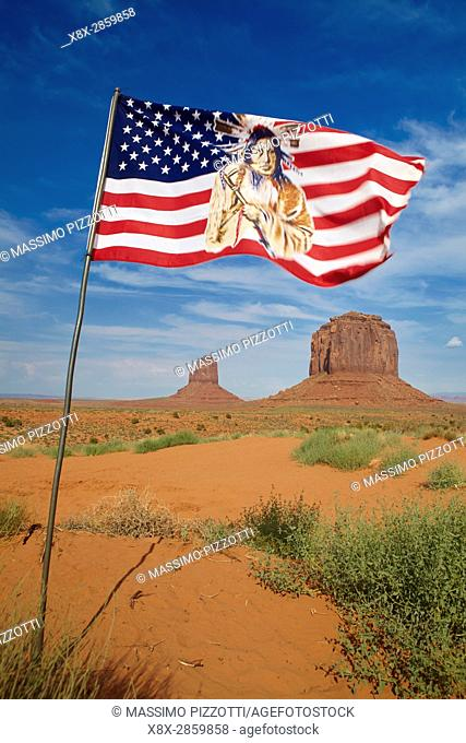 Navajo flag in the Monument Valley, Arizona, United States