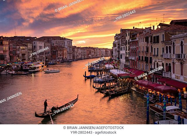 Colorful evening over the Grand Canal and city of Venice, Veneto, Italy