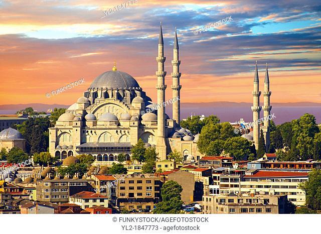 The Suleymaniye Mosque Süleymaniye Camii, 1550-1558 on the Third Hill, Istanbul Turkey