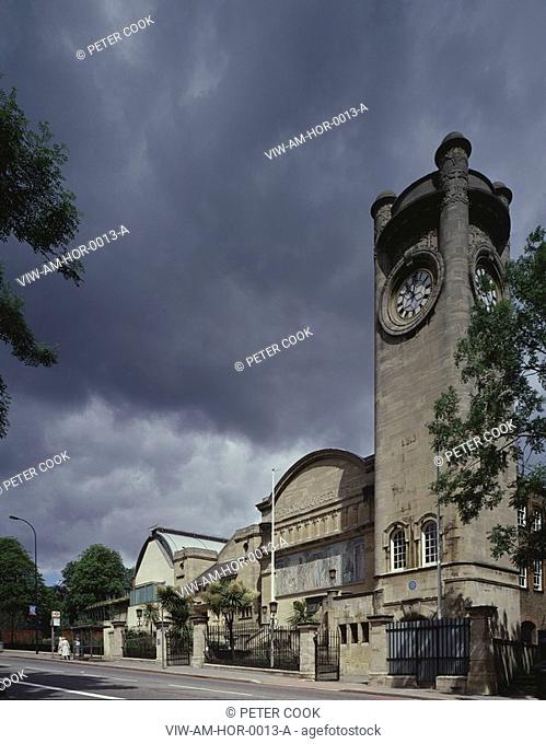 HORNIMAN MUSEUM, LONDON ROAD, LONDON, SE23 FOREST HILL, UK, ALLIES & MORRISON ARCHITECTS, EXTERIOR, STREET ELEVATION WITH CLOCK TOWER