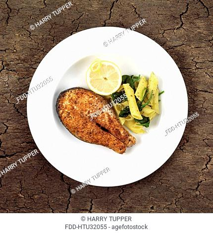 Cajun Salmon Steak with Pasta and spinach
