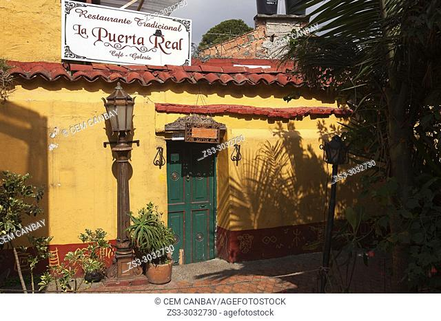 Colonial building used as a traditional restaurant at the historic center La Candelaria, Bogota, Cundinamarca, Colombia, South America