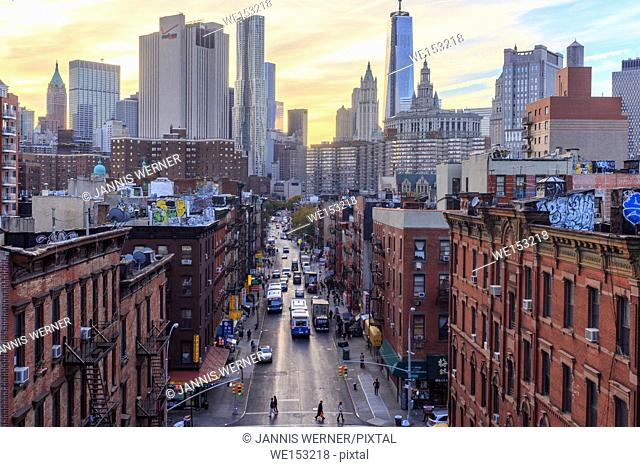 Madison Street on the Lower East Side from the Manhattan Bridge Overpass in New York, NY, USA at sunset in Fall 2013