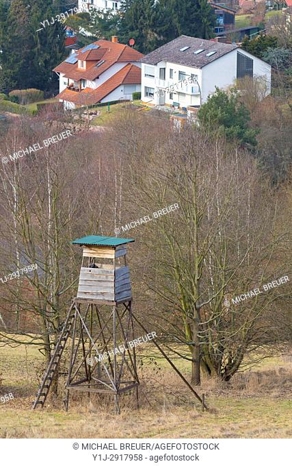 Hunting Blind in front of village, Hesse, Germany, Europe