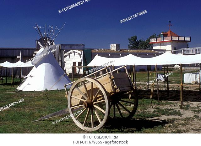 North Dakota, Teepee, cart and wagon exhibits at the Fort Union Trading Post National Historic Park